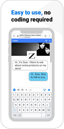 facebook chat box live help chat with chat bot messenger online